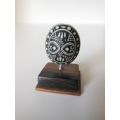 Black/White Tribal Sculpture on Dark Wood Base