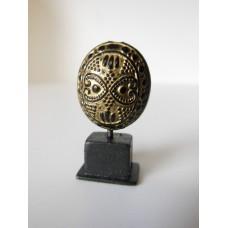 Gold/Black Tribal Sculpture on Dark Wood Base