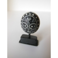 Black/White Tribal Sculpture on Small Black Base
