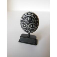 Black/White Tribal Sculpture on Small Black Base