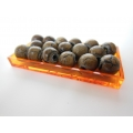 Orange Rectangle Lucite Tray with Decorative Orbs