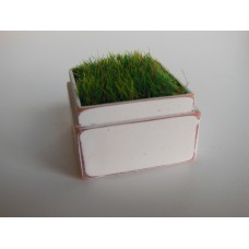 Tall Square Vintage White Tray with Wheat Grass