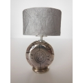 Chrome Disk Table Lamp with Gray Shade