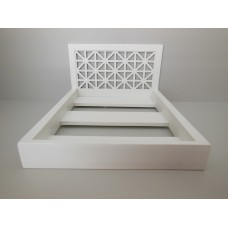 Platform Bed with Amina Headboard in White