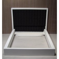 White Platform Bed with Black Square Quilted Insert