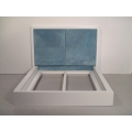 White Platform Bed with Blue 4-Panel Insert
