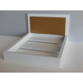 White Platform Bed with Gold Faux Leather Insert
