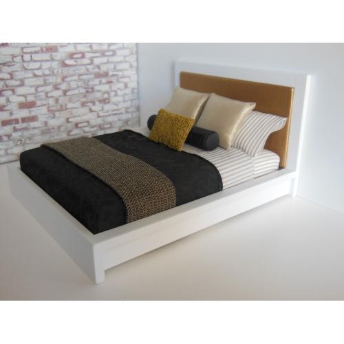9507f74af454 Modern Dollhouse Furniture   M112 PODS   White Platform Bed with ...