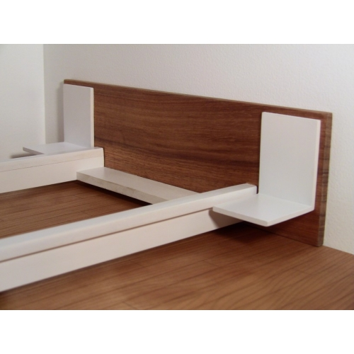White Platform Bed With Cherry Headboard And Nightstands