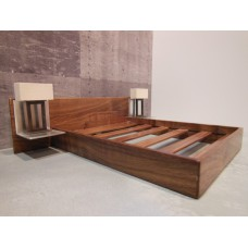 Walnut Platform Bed with Walnut Headboard and Aluminum Nightstands with Working Lamps