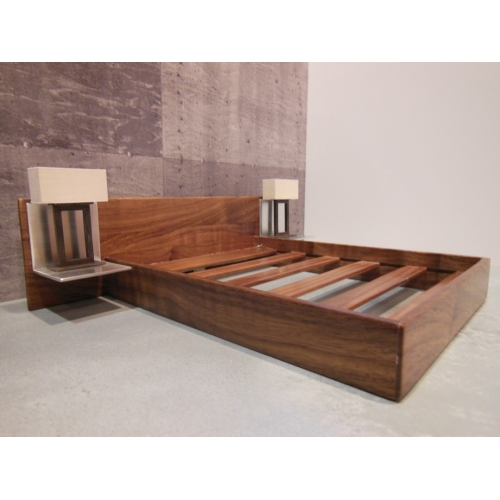 Modern Dollhouse Furniture M112 PODS Walnut Platform Bed with