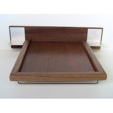 Walnut Platform Bed with Walnut Headboard and Aluminum Nightstands