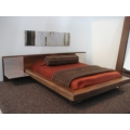 Walnut Bed with Nightstands, Mattress and Bedding