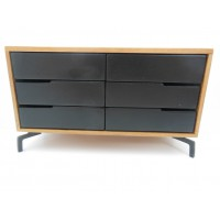 Beech Dresser in Cypress with Black Drawers
