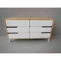 Beech Dresser in Cypress with White Drawers