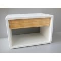Emerson Nightstand in White with Cypress Drawer
