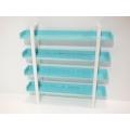 Studio 4 Tier Shelving Unit in Tiffany Blue/White