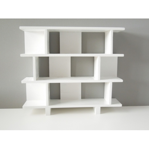 Vendi 3 Tier Bookcase in White - Modern Dollhouse Furniture M112 PODS Vendi 3 Tier Bookcase In