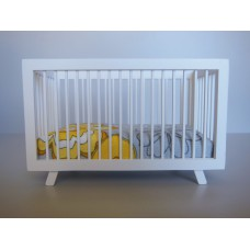 Madison Crib in White with Yellow/Gray/White Bedding