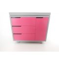 Madison Change Table in Gray/Hot Pink