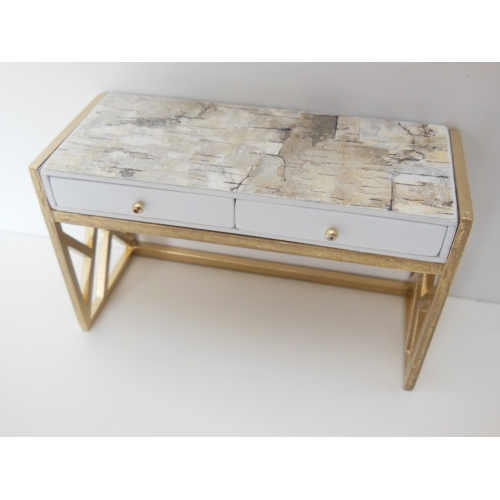Cordelia Desk In White/Gold