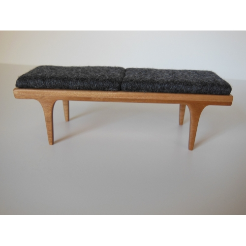 Modern Dollhouse Furniture M112 PODS Nolan Bench In Cherry With Gray Cushion By Paris