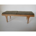 Nolan Bench in Cherry with Tan Cushion