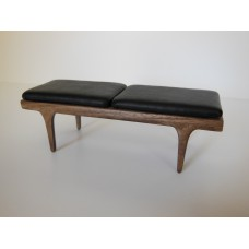 Nolan Bench in Walnut with Black Leather Cushion