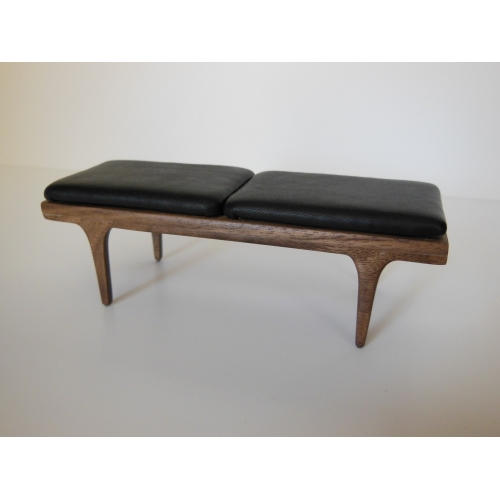 Modern Dollhouse Furniture M112 Pods Nolan Bench In Walnut With Black Leather Cushion By