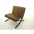 Barcelona Chair Upholstered in Light Vintage Brown