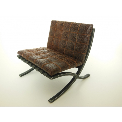 Barcelona Chair Upholstered In Dark Vintage Brown