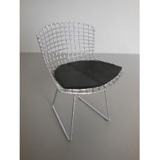 Bertoia Chair in Chrome with Black Seat Pad