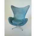 Egg Chair in Blue Suede White Trim