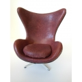 Egg Chair in Burgundy Leather Black Trim