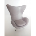Egg Chair in Gray Leather with Dark Gray Trim