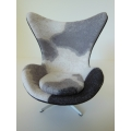 Egg Chair in Pony Print Fabric with White Base