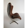 Egg Chair in Vintage Brown Fabric Metal Back