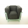 Le Corbusier Petit Lounge Chair Gray Fabric/Light Blue