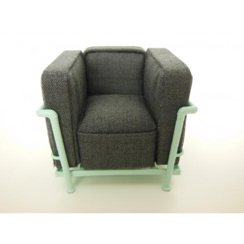 Le Corbusier Petit Lounge Chair Gray Fabric/Light Blue