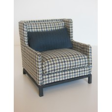 Marcel Wingback Chair in Houndstooth