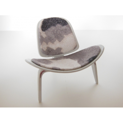 Hans Wegner Shell Chair In Pony Print Fabric