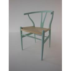 Wishbone Chair - Aqua with Natural Seat