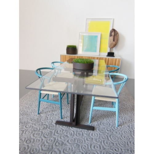 Wishbone Chair   Blue Series (Light Blue) With Natural Seat