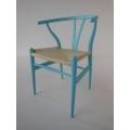 Wishbone Chair - Medium Blue with Natural Seat