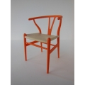 Wishbone Chair - Orange with Natural Seat