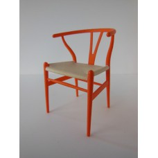 Wishbone Chair - Orange with Natural Seat