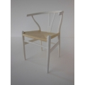 Wishbone Chair - White with Natural Seat