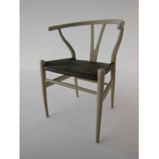 Wishbone Chair - Beige with Espresso Vinyl Seat