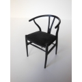 Wishbone Chair - Black with Black Microsuede Seat