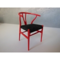 Wishbone Chair - Red with Black Microsuede Seat
